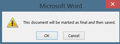 Word document protection confirmation