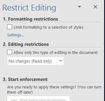 Word document restrict editing