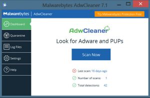 AdwCleaner start screen