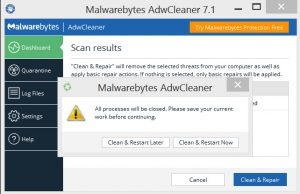 AdwCleaner warning message