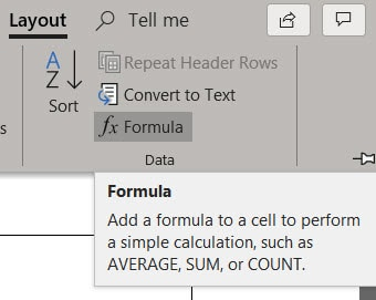 Formula function in Layout tab